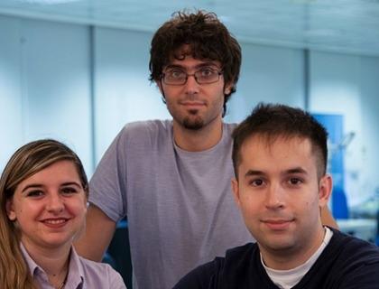 Il team di Horus: da sinistra a destra Bendetta Magri, Business Developer, il Cto Luca Nardelli e il Ceo Saverio Murgiaoper Benedetta Magri