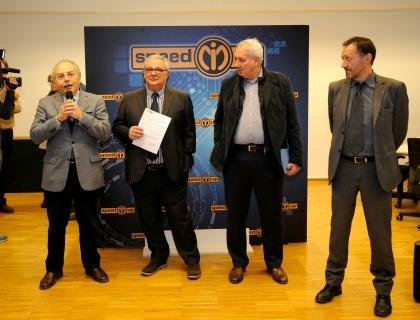 Giorgio Ripari (consigliere Camera di commercio Milano), Fausto Pasotti (direttore Speed Mi Up), Alberto Meomartini (presidente Speed Mi Up) e Renato Galliano (direttore settore innovazione Comune di Milano)
