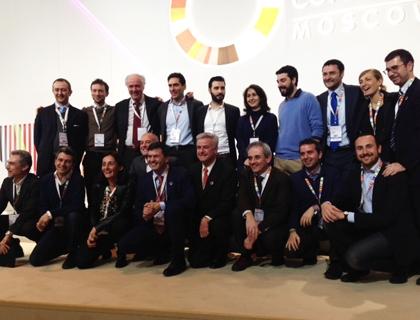 Foto di gruppo della delegazione italiana in chiusura del Global Entrepreneurship Congress a Mosca