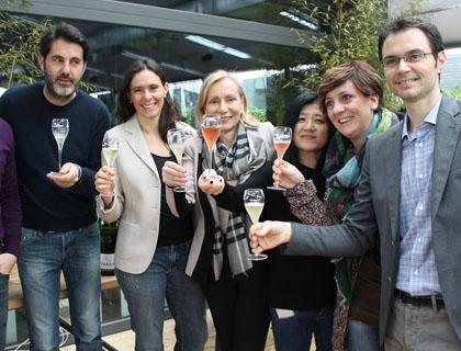 Camilla Lunelli brinda in H-Farm con Riccardo Donadon, Marisa Allegrini e Alessandro Lunelli