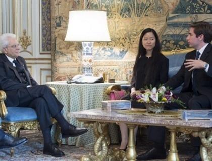 Sergio Mattarella con Alberto Rizzoli e Marita Chang