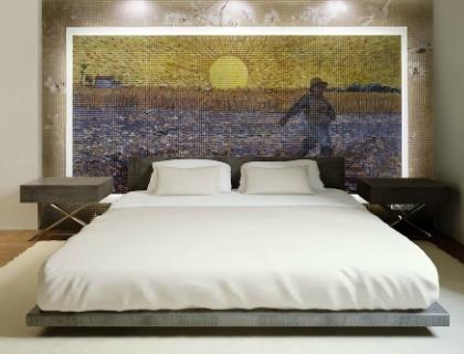 Mosaico in resina in camera da letto