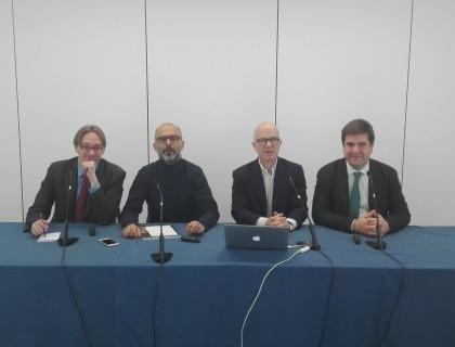 Paolo Catti, Andrea Rangone, Giovanni Iozzia, Marco Planzi durante il webinar ''Competenze digitali & Innovation''