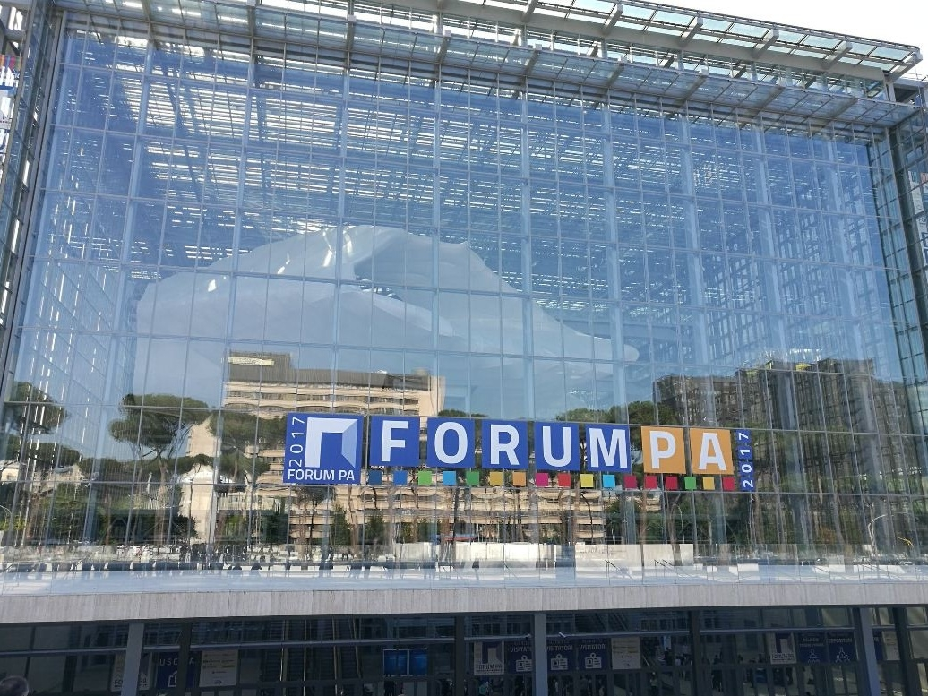 L'ingresso di ForumPA 2017 presso la Nuvola di Fuksas (credit Chiara Gemma Somasca)