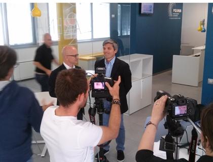 Backstage della registrazione della prima puntata di EconomyUp: Giovanni Iozzia con Stefano Mainetti, consigliere delegato Polihub