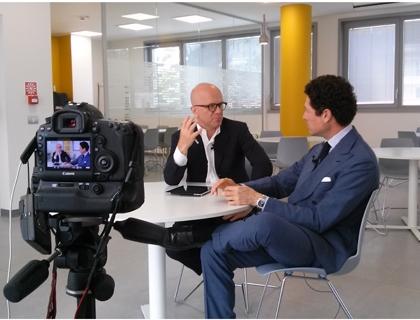 Matteo Marzotto con Giovanni Iozzia durante la registrazione della seconda puntata di EconomyUp