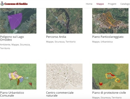 Una pagina del geoportale di Sedilo realizzato sulla piattaforma Geonue