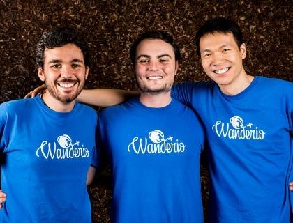 I fondatori di Wanderio Luca Rossi, Disheng Qiu e Matteo Colò