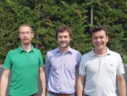 Alcuni membri del team di Solwa: da sinistra Matteo Pasquini, Paolo Franceschetti, Davide Franceschetti