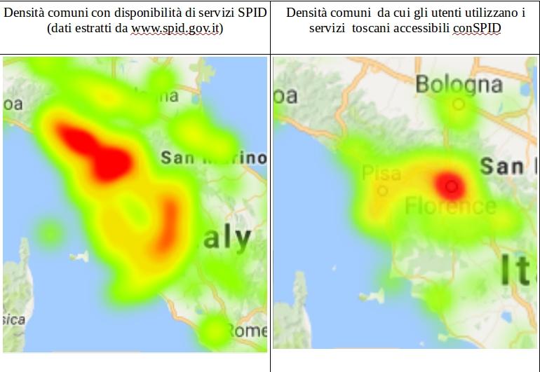 Differenti  distribuzioni geografiche dei servizi e degli utilizzatori in toscana
