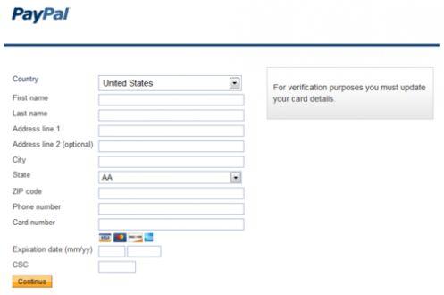 Una schermata del sistema Paypal in cui il troyan ZeuS inserisce richieste di dati che sono trasmessi ai cybercriminali (fonte G Data)