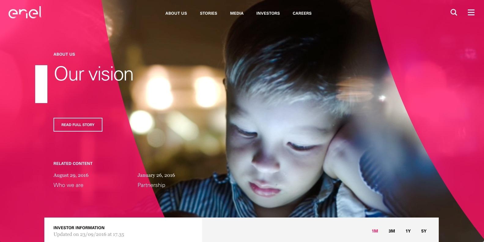 La homepage del nuovo sito Enel.com