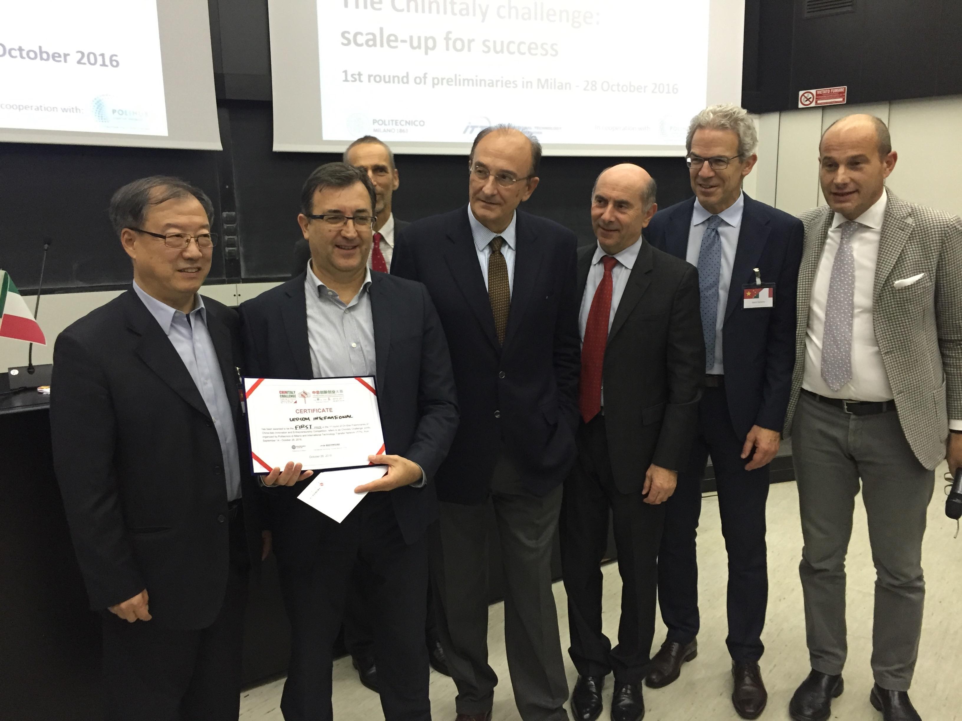 La premiazione della startup vincitrice LedCom International