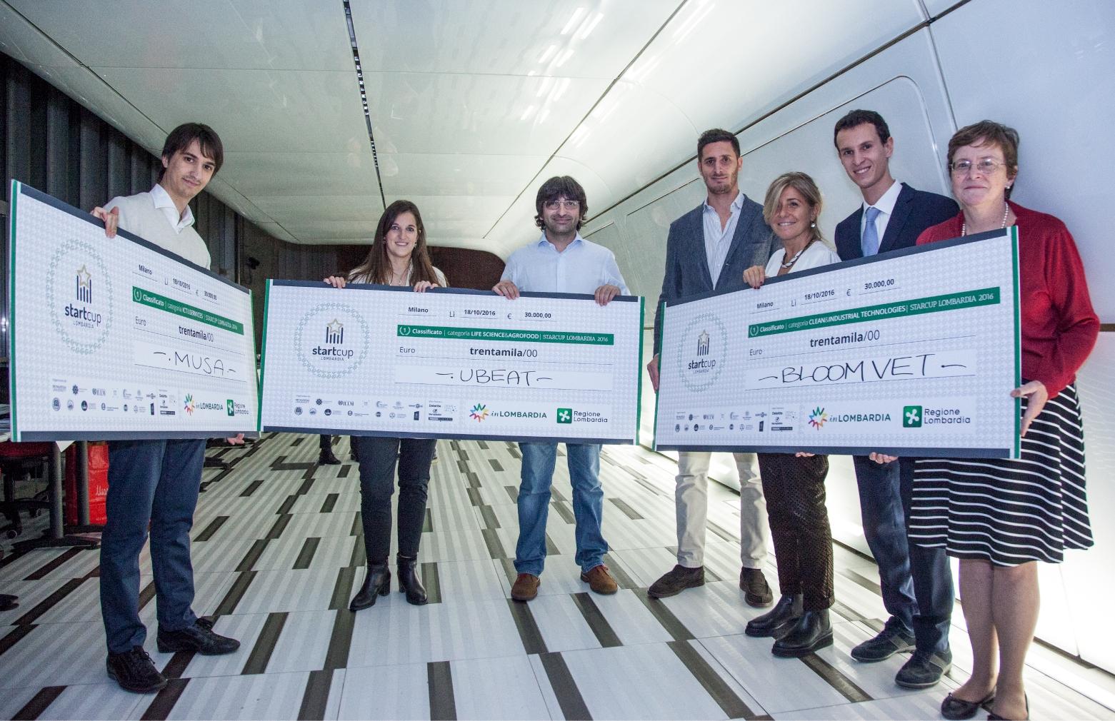 I vincitori dell'edizione 2016 di StartCup Lombardia