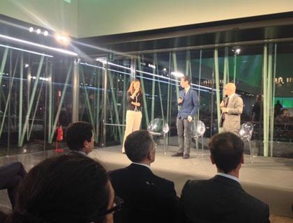 Alex Tocchio, cofounder di Tensive, tra Diana Saraceno di 360 Capital e Giovanni Iozzia, direttore di EconomyUp
