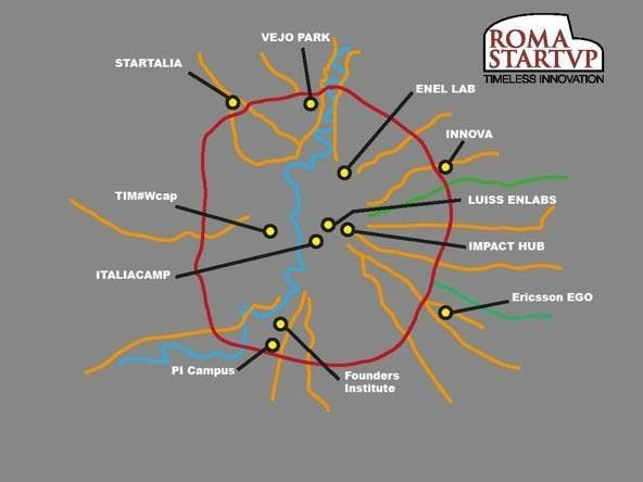 La mappa degli incubatori privati romani, fornita da Roma Startup, ai quali nel 2015 si dovrebbe aggiungere Parco Leonardo