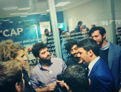 Il premier Matteo Renzi in vista nell'acceleratore Working Capital di Catania