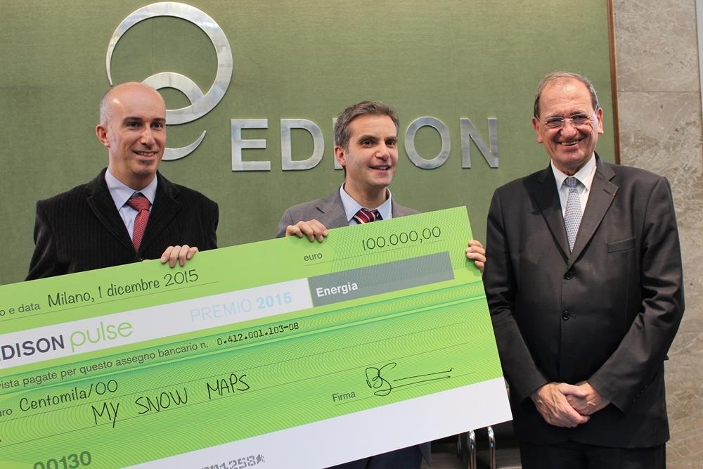Da sinistra Fabrizio Zanotti, Matteo Dell'Amico (My Snow Maps) e Bruno Lescoeur, Ceo di Edison