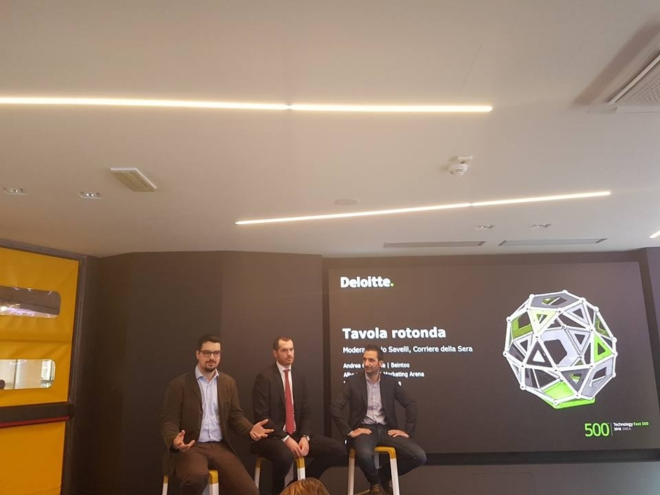 Da sinistra Tiziano Tassi, Ceo di Caffeina, Alberto Casna, Account Manager di Marketing Arena, e Andrea Campana, Ceo di Beintoo, alla presentazione del Deloitte Technology Fast 500 Emea 2016